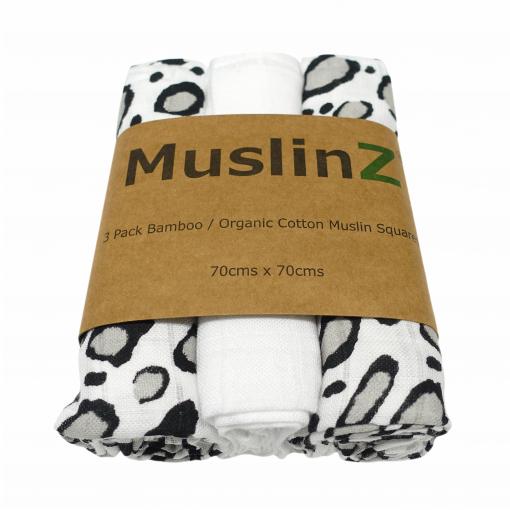 leopard 3 pack Muslinz bamboo & organic cotton