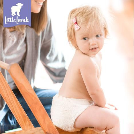 child in little lamb organic cotton nappy