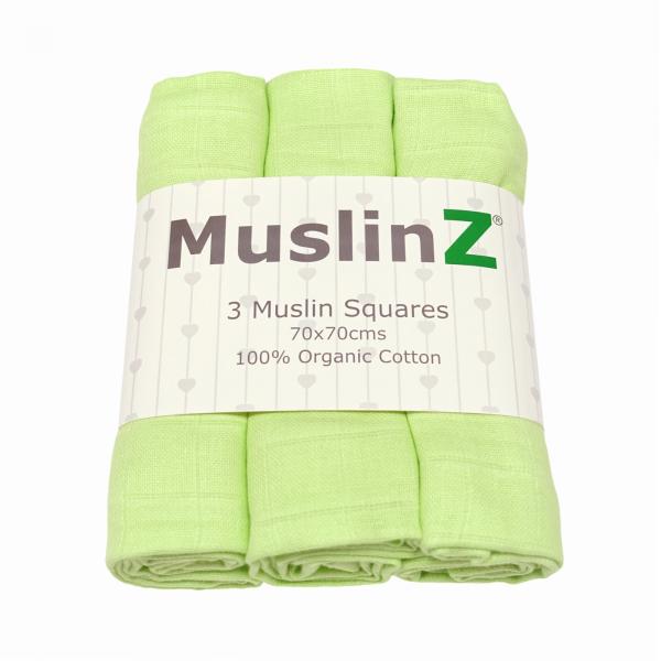 green 100% organic cotton muslins