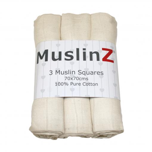 natural 3 pack 100% organic cotton muslins
