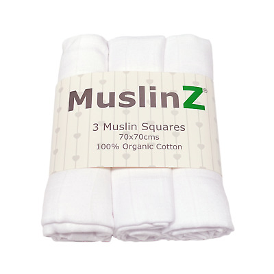 white 3 pack 100% organic cotton muslins